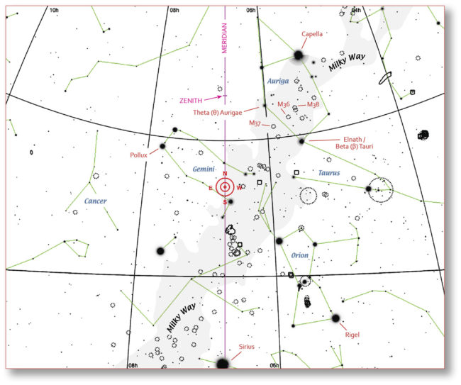 Chart of sky around constellation Auriga.