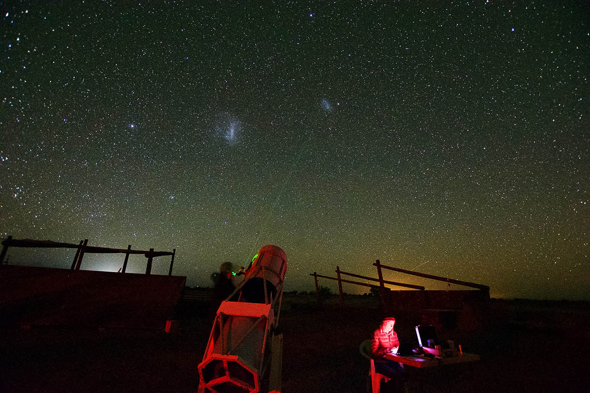 Image of Chilean night sky and observers.